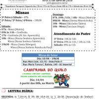 Comunicados Semanais – 09 à 15 de Abril de 2018