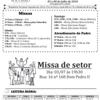 Comunicados Semanais – 02 à 08 de Julho de 2018