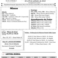 Comunicados Semanais – 03 à 09 de Setembro de 2018