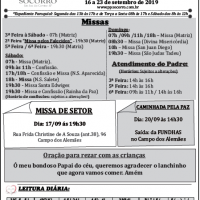 Comunicados Semanais – 16 a 23 de Setembro 2019