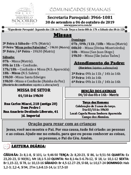 Comunidados Semanais 30 09 a 06 10 2010 - fl 01