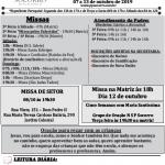 Comunicados Semanais – 07 a 13 de Outubro de 2019