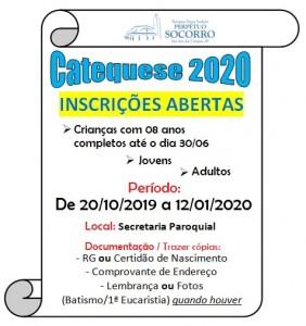 Inscrições Catequese até 12 01 2020