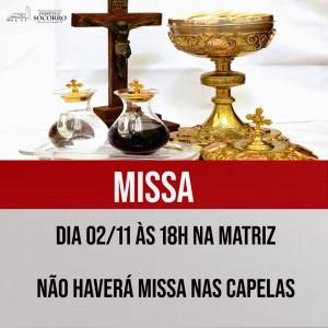 Missa Matriz 02 11 - não teremos missa capelas