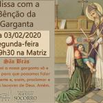 Bênção da Garganta – 03/02/2020.