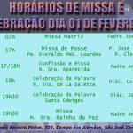 Horários de Missas e Celebrações – 01e 02 Fevereiro (Sábado e Domingo).