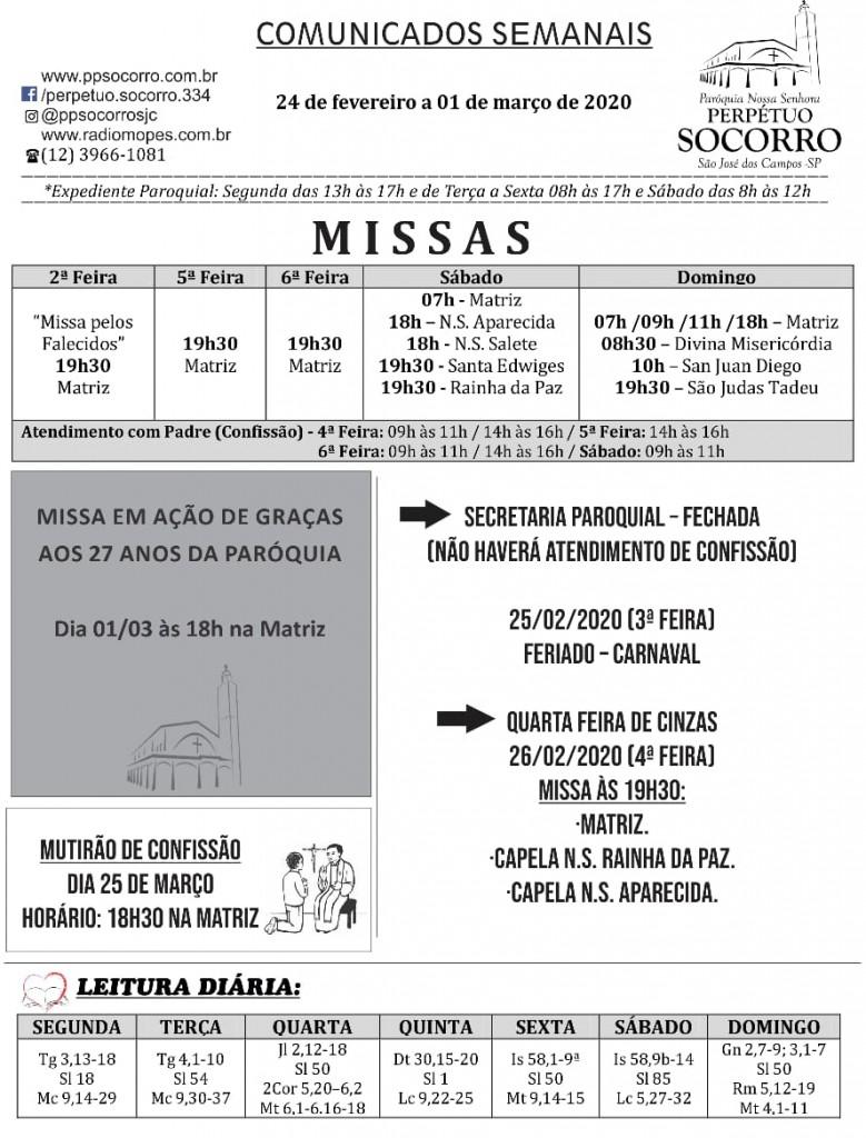 Comunicados Semanais 24 Fev a 01 Mar Fl 01