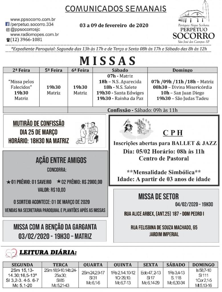 Comunicados Semanais de 03 a 09 Fevereiro fl 1