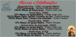 Escala de Missas de 17 a 21 Fev