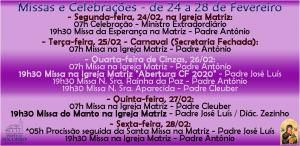 Escala de Missas de 24 a 28 Fev