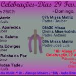 Horários de Missas e Celebrações 29 de Fevereiro e 01 de Março.