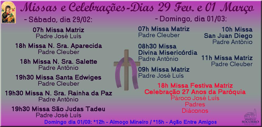 Escala de Missas de 29 Fev Sáb e 01 Mar Dom