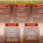 Horários de Missas e Celebrações – de 03 a 07 de Fevereiro.