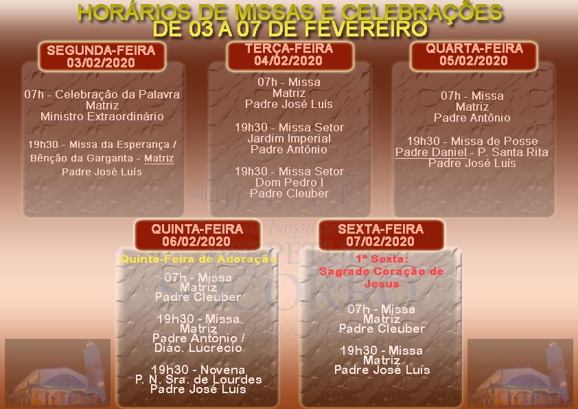 Escalas de Missas e Celebrações de 03 a 07 Fevereiro 2020