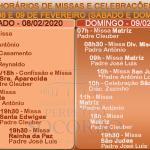 Horários de Missas e Celebrações – dias 08 e 09 de Fevereiro.