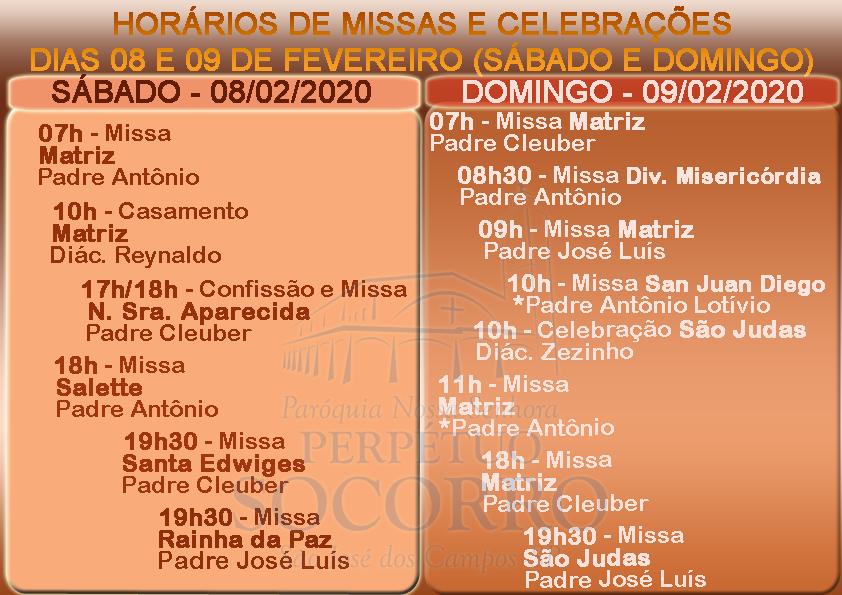 Escalas de Missas e Celebrações dias 08 e 09 Fevereiro 2020 com alteração
