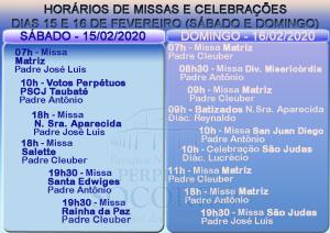 Escalas de Missas e Celebrações dias 15 e 16 Fevereiro 2020
