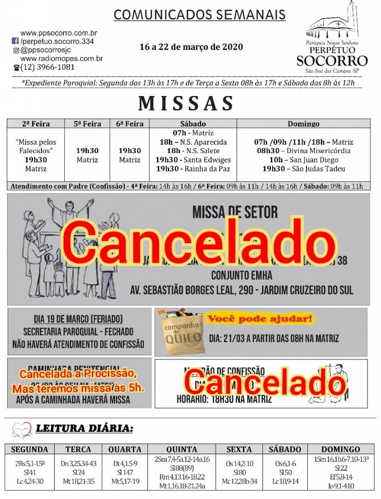 Comunicados de 16 a 22 Março e Cancelamentos (1)