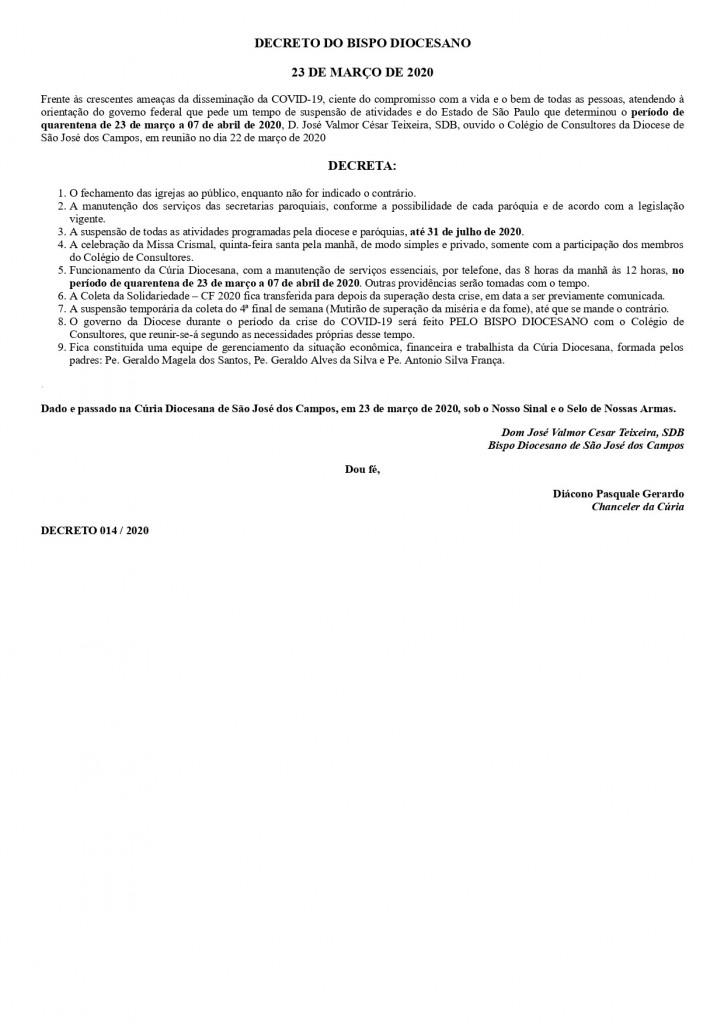 Decreto 014 2020 do Bispo Diocesano 23 03 2020