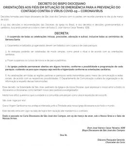 Decreto do Bispo Diocesano 19 03 2020