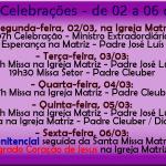 Horários de Missas e Celebrações de 02 a 06 de Março.