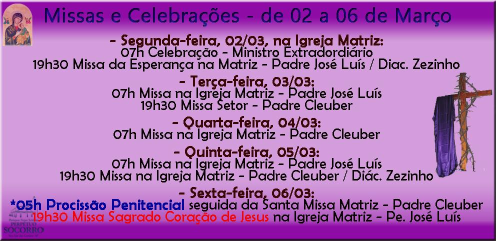 Escala de Missas de 02 a 06 Março