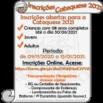 Inscrições Online para a Catequese 2021.
