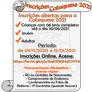 Inscrições-Catequese-de 09-11-2020 até-15-01-2021