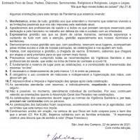 ORIENTAÇÕES DO BISPO DIOCESANO SÃO JOSÉ DOS CAMPOS/SP – 22/01/2021.