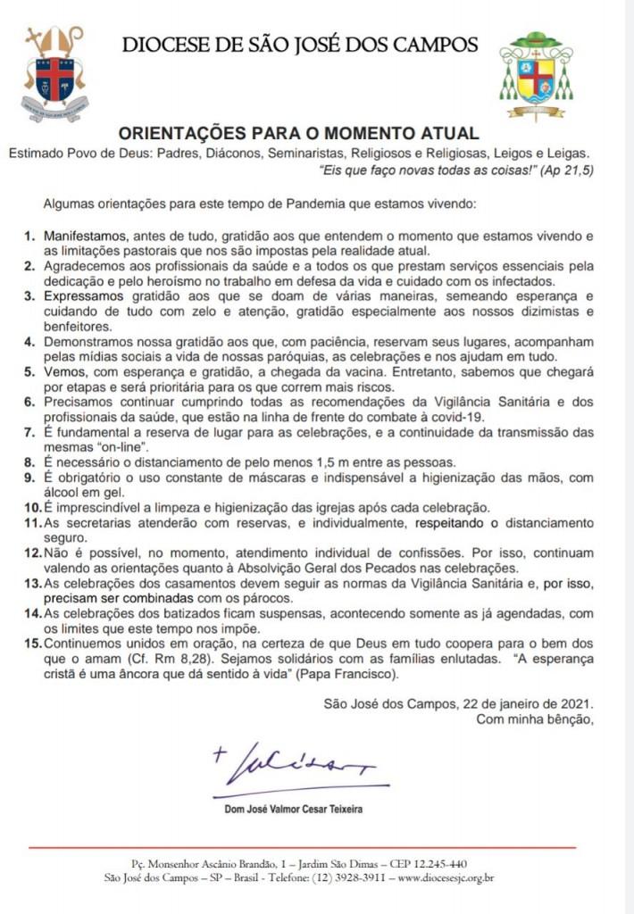 Orientações do Bispo Diocesano - 22 01 2021