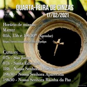 Missas Quarta de Cinzas - 17 02 2021