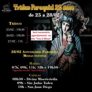 Tríduo e Aniversário Paroquial 2021 agendamento
