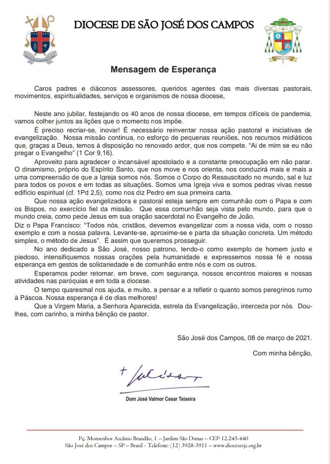 Mensagem de Esperança Bispo Diocesano - 08.03.2021