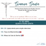Semana Santa 2021 – Quinta-feira Santa.
