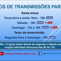 Transmissão ao vivo da Paróquia a partir de 16/03.