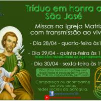 Tríduo em honra a São José – 28 a 30/04.