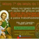 Missa dia 1º de Maio – 40 anos da Diocese SJC e pelos trabalhores.