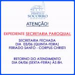 Secretaria paroquial fechada – 03/06/2021.